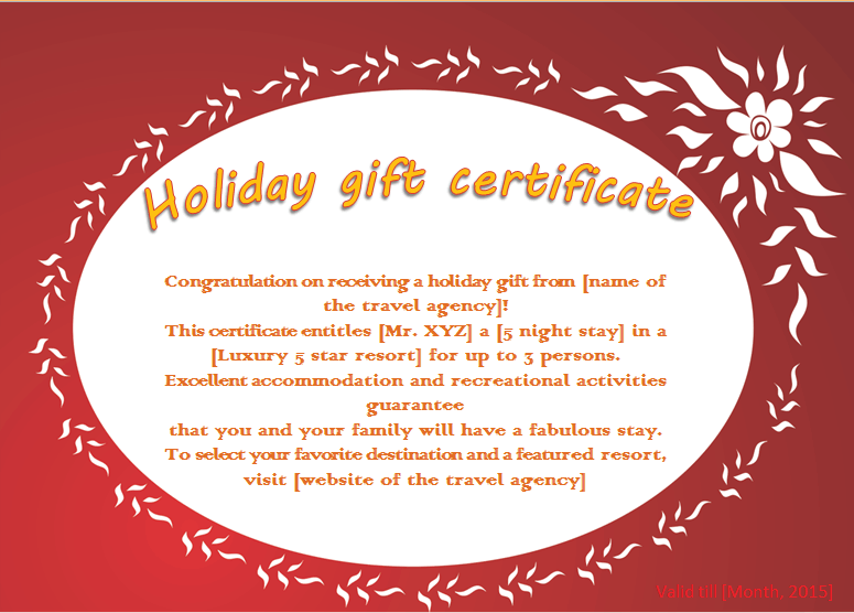Flaming flower holiday gift certificate template for Gift certificate terms and conditions template