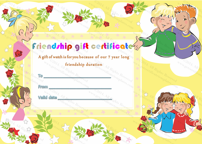 Friendship Gift Certificate Template