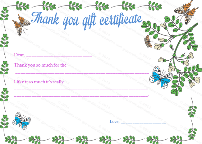 Gratitude Gift Certificate Template