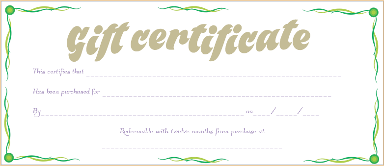 Green waves gift certificate template for Business gift certificate template
