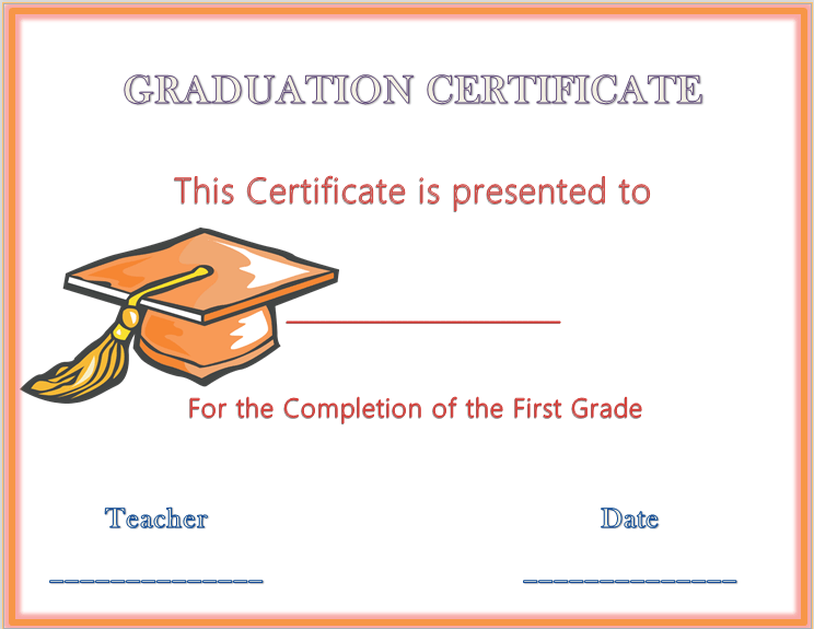 Hats off graduation award certificate for 6th grade graduation certificate template