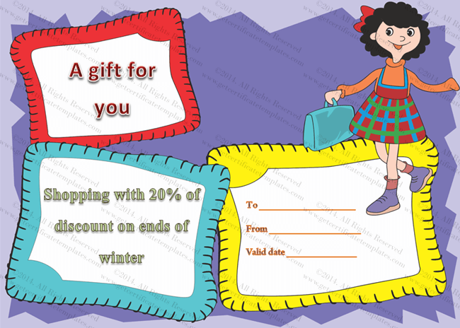 shopping certificate template - jazzy shopping gift certificate template