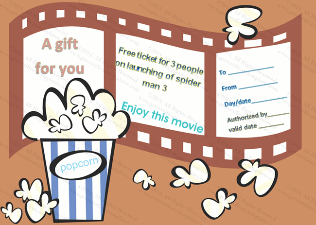 movie tickets gift certificate template