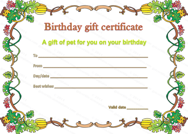 Pet gift certificate template for birthday yadclub Image collections