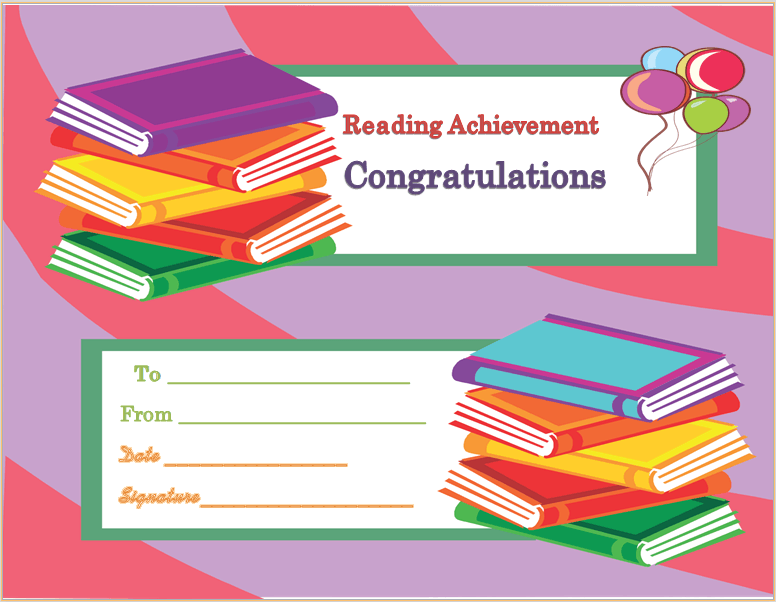 Achievement award certificate template reading achievement award certificate template yadclub Images
