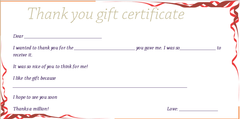 Red ribbons thank you gift certificate template yelopaper Image collections