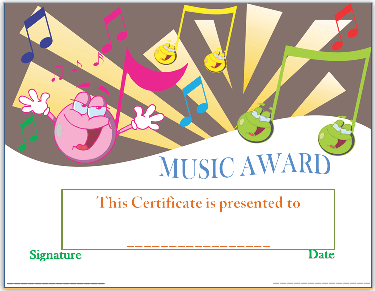 Smiley Face Music Award Certificate