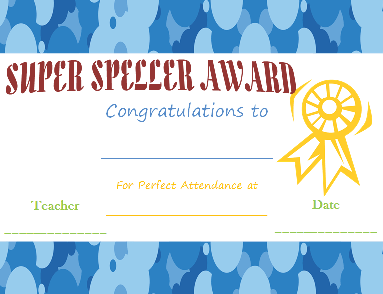 Spelling Busy-Bee Award Certificate Template
