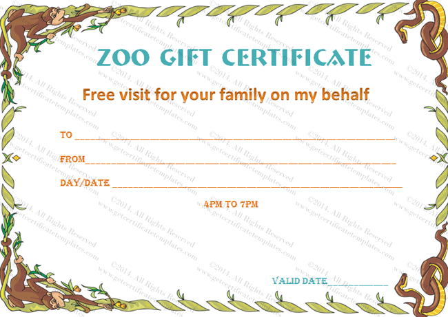 wild zoo gift certificate template