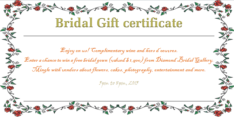 Wreath Of Roses Bridal Gift Certificate Template - Wording for gift certificate template