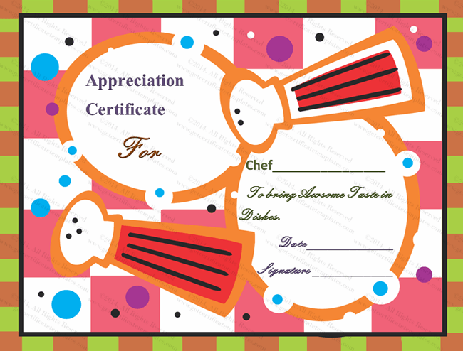 Cooking Certificate Template Prepossessing Awesome Taste Certificate Of Appreciation Template