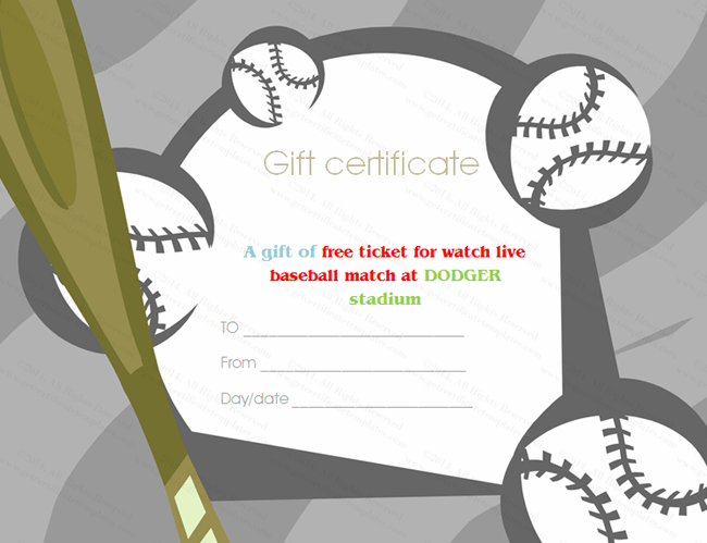 Baseball tickets gift certificate template for Baseball certificate ideas