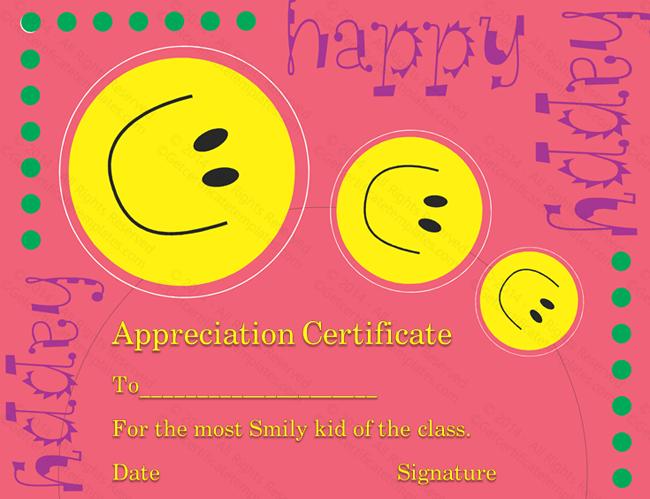 smile faces certificate of appreciation template