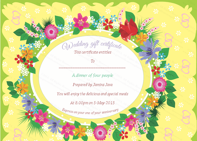 ... Options for Beautiful Floral Wedding Gift Certificate Template