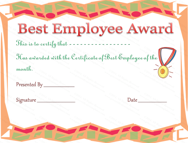 best employee award certificate template