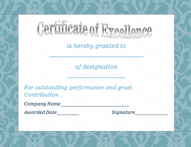 Blue Border Certificate Of Excellence Template