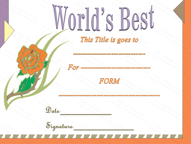Classic World's Best Award Certificate Template