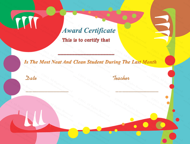 Cleanliness Award Certificate Template  Free Appreciation Certificate Templates For Word