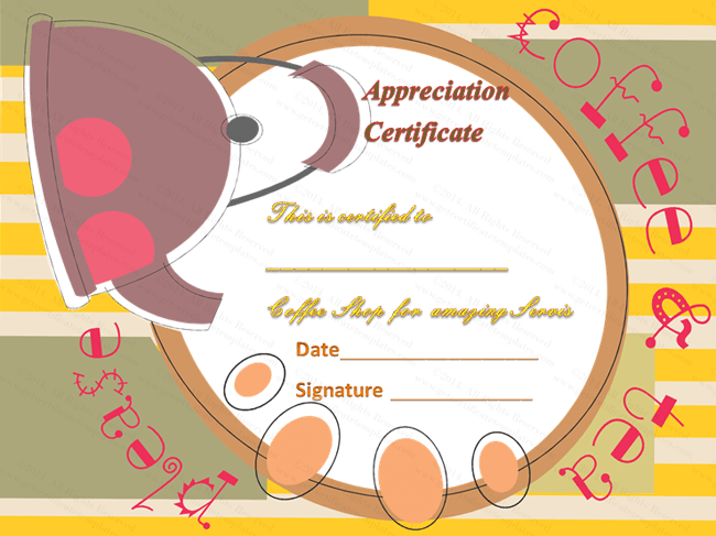 Coffee and Tea Award Certificate Template