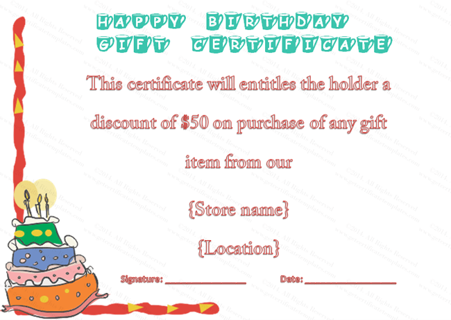 Colorful Cake Birthday Gift Certificate Template – Present Voucher Template