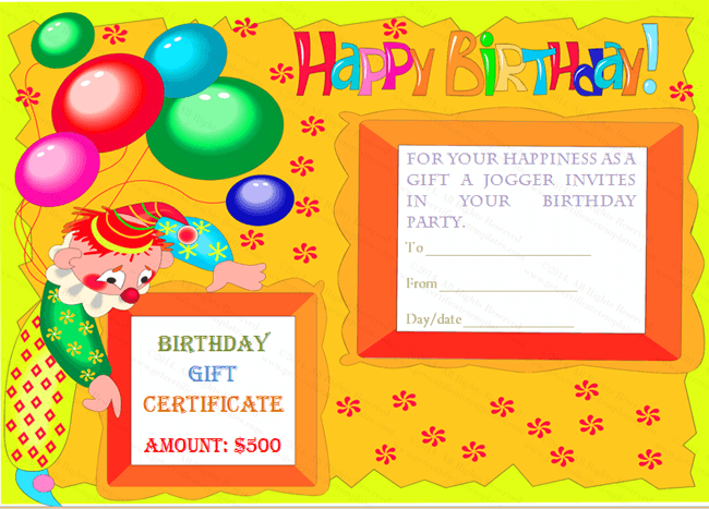 Colorful Clown Happy Birthday Gift Certificate Template