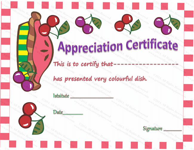 Colorful Dish Certificate of Appreciation Template