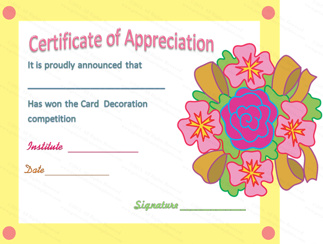 Decorating Certificate of Appreciation Template