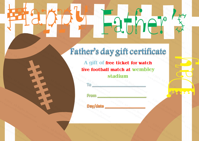 Father's Day Gift Certificate Template (Football Theme)