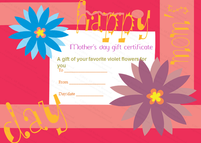 Greek Anemone Mother's Day Gift Certificate Template