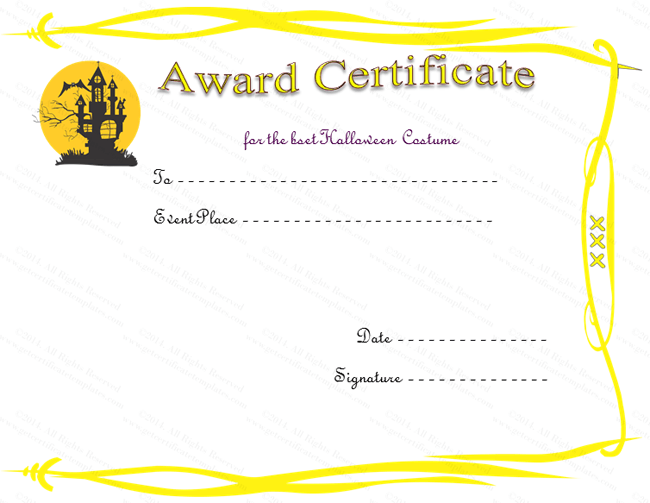 haunted house award certificate template