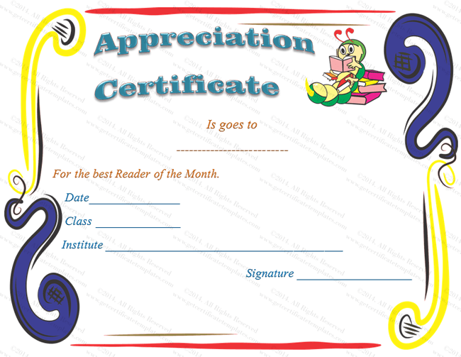 Kids school certificate of appreciation template appreciation certificate template yadclub