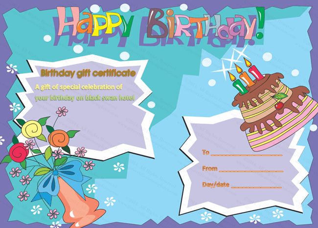 birthday gift certificate templates certificate templates. Black Bedroom Furniture Sets. Home Design Ideas