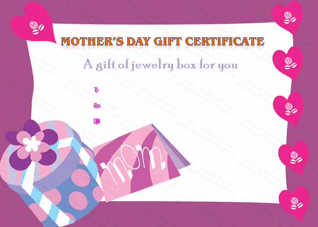 ... Options for Present Box Mother's Day Gift Certificate Template