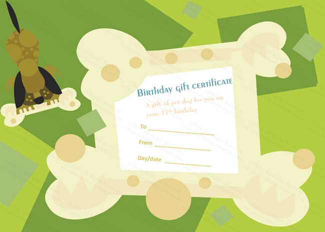 Free puppy birth certificate template