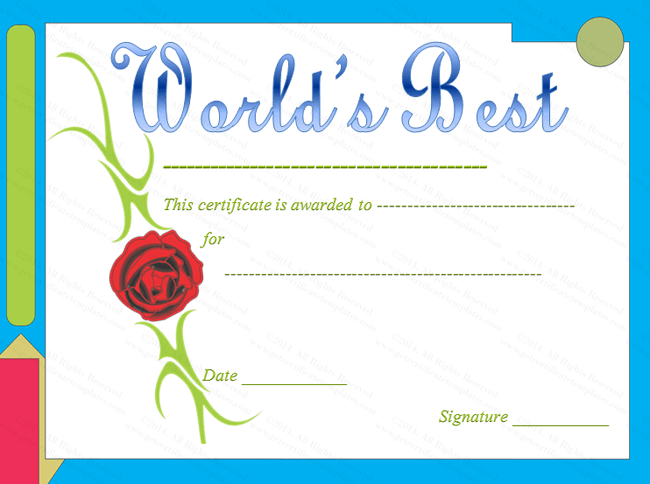 worlds best award certificate template