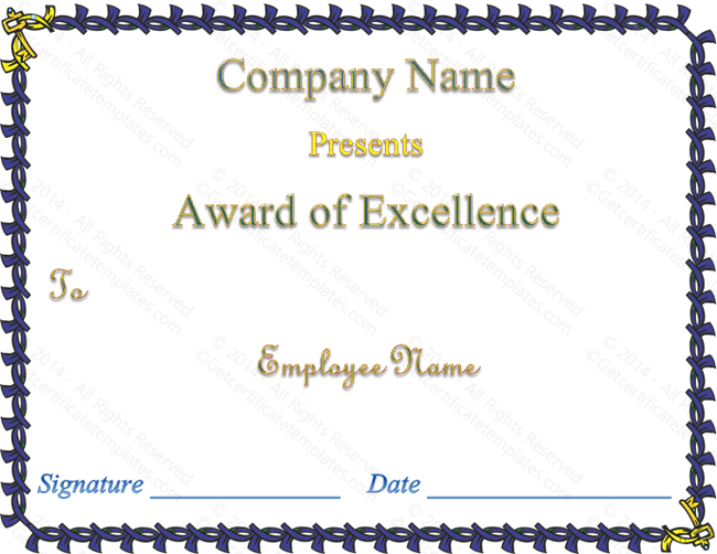 Royalty Award of Excellence Template