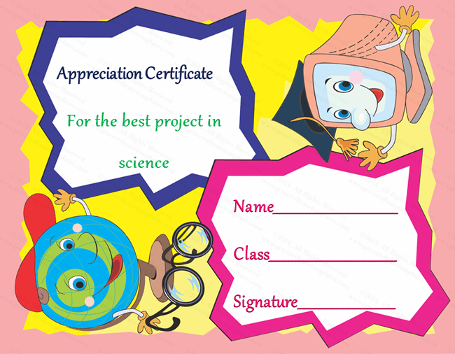 Science Student Certificate of Appreciation Template