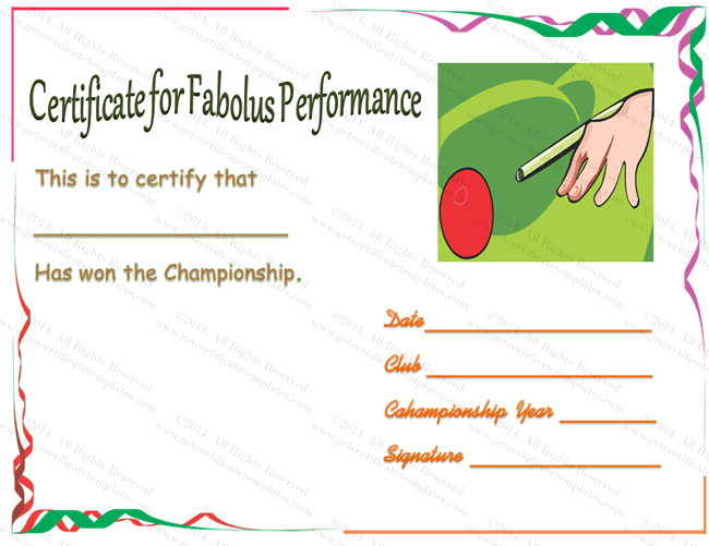 Snooker champ certificate of appreciation template snooker award certificate template yadclub Image collections