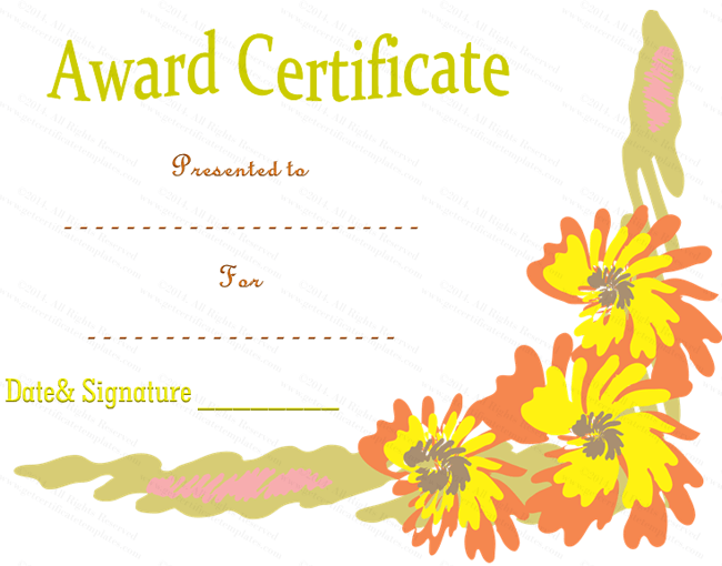 floral flowers award certificate template
