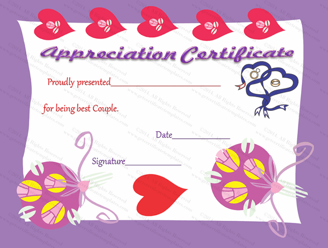 True Love Certificate of Appreciation Template