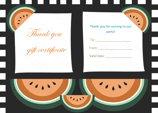 Watermelon Themed Thank You Gift Certificate Template