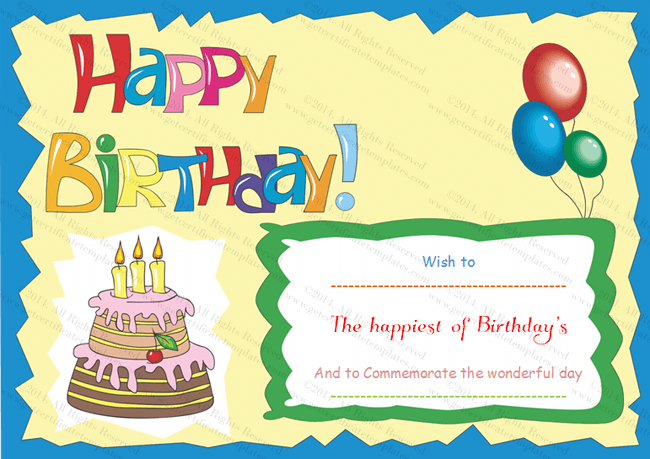 Wonderful Birthday Gift Certificate Template