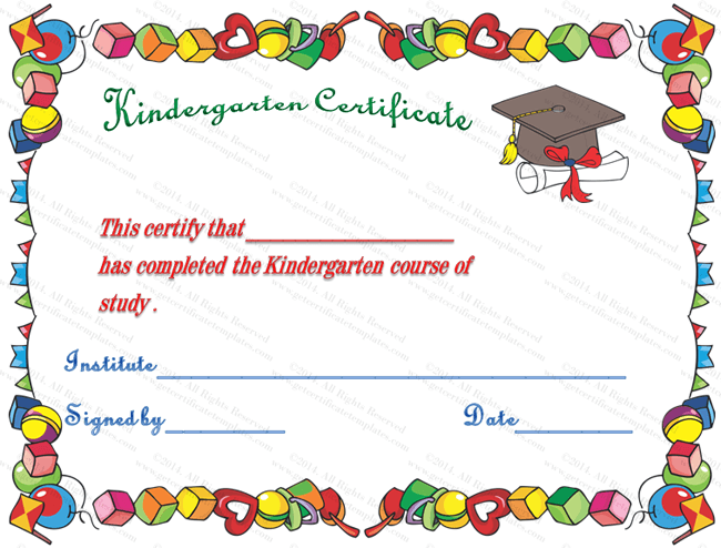 Hats off kindergarten diploma certificate template for Pre k award certificate templates