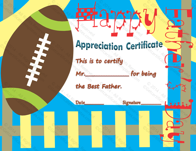 Football themed certificate of appreciation template football performance award certificate template yelopaper Images
