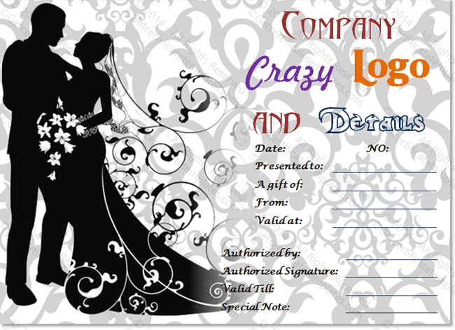For Bride and Groom Gift Certificate Template