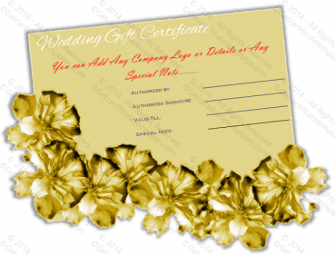 Golden Paper Wedding Gift Certificate Template