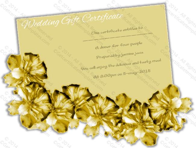 golden paper wedding gift certificate template