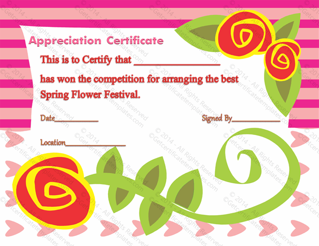 Red floral certificate of appreciation template yelopaper Images