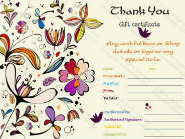 Special Thank You Gift Certificate Template