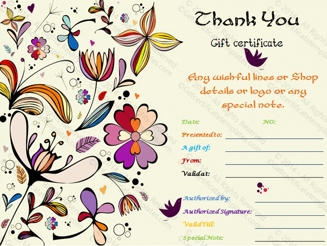 Thank you gift certificate template special thank you gift certificate template yadclub Image collections